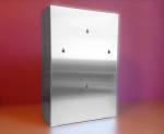 Podajnik (dozownik) na rękawice – potrójny INOX, gł. 8 cm, zag. 4 cm