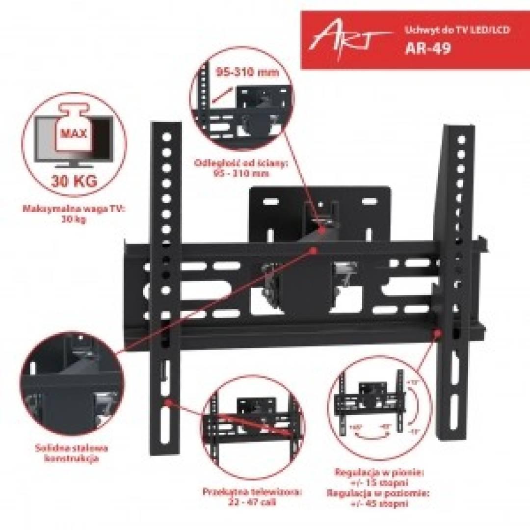 """Uchwyt do LCD/LED 22-47"""" 30KG AR-49 regulowany wpionie i poziomie"""