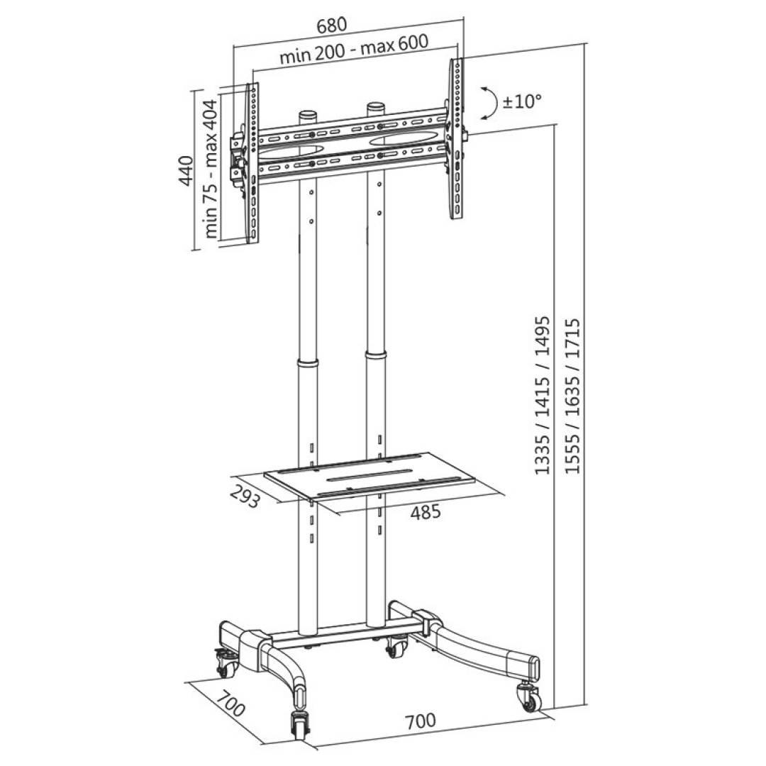 LogiLink  Uchwyt wolnostojący 37-70 max 40kg, VESA 600x400