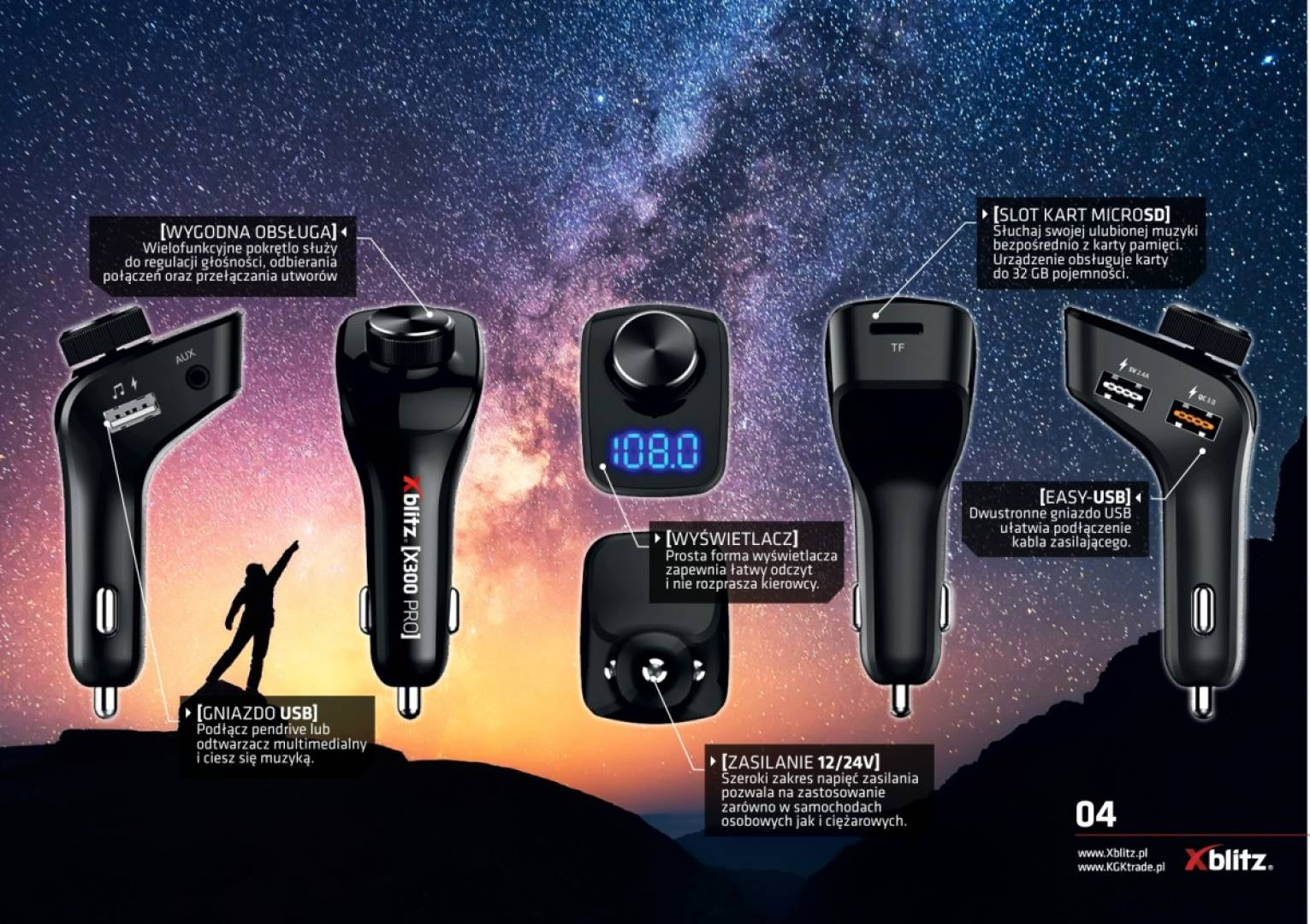 Transmiter X300 PRO FM, quick charge