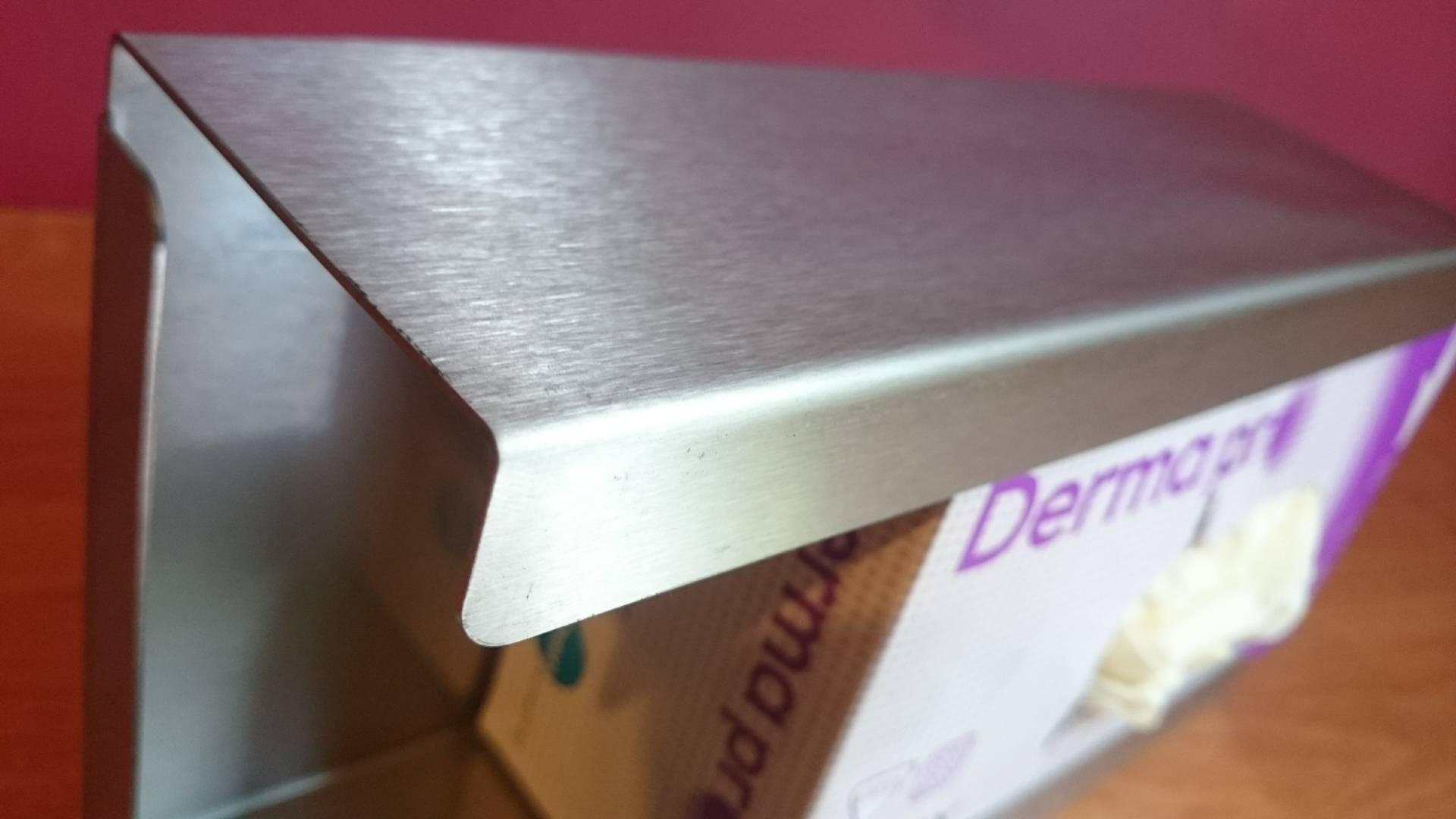 Podajnik (dozownik) na rękawice – pojedynczy INOX, gł. 7,5 cm, zag. 2