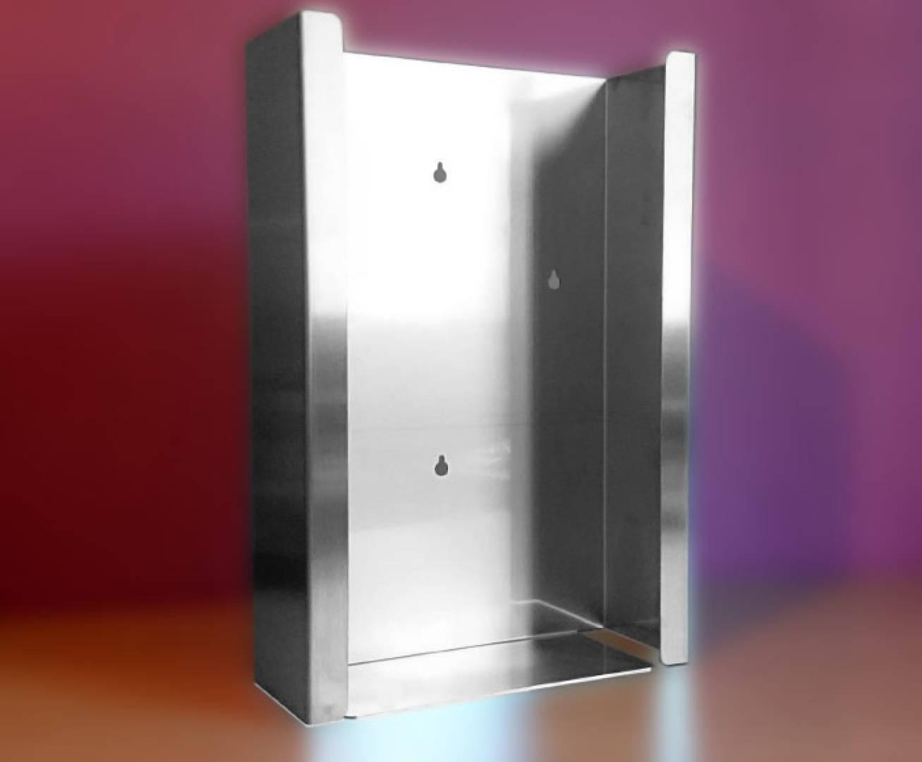 Podajnik (dozownik) na rękawice – potrójny INOX, gł. 10 cm, zag. 4 cm