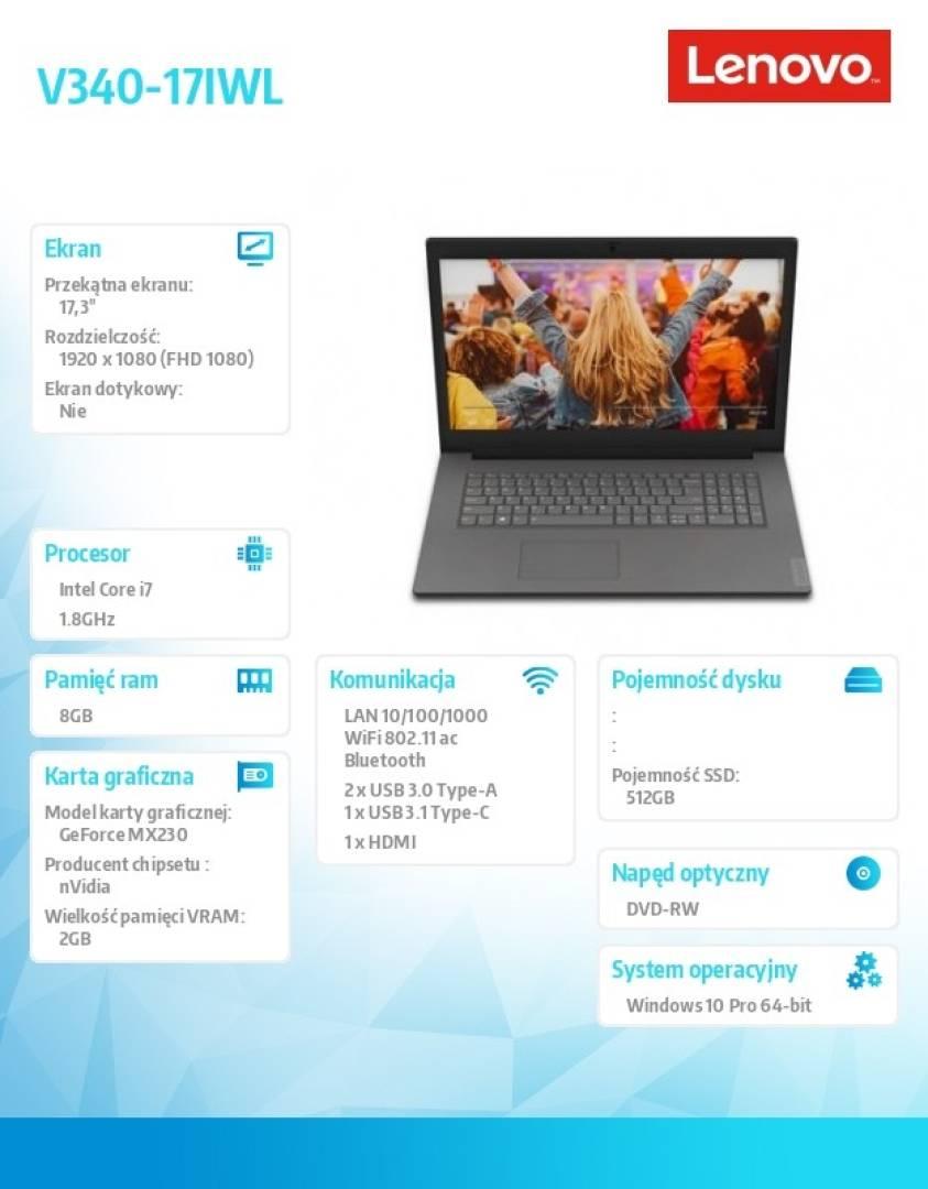 Laptop V340-17IWL 81RG000BPB W10Pro i7-8565U/8GB/512GB/MX230 2GB/17.3 FHD/Iron Grey/2YRS CI