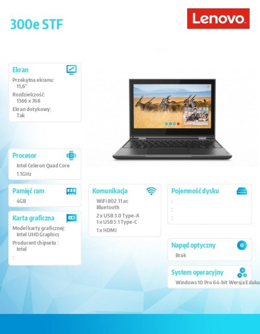 Laptop 300e STF 81M9000PPB W10Pro EDU Academic N4100/4GB/128GB/INT/11.6 FHD/Touch/Black/1YR CI