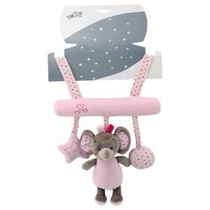 Zawieszka z dźwiękiem New Baby Słonik różowy 22 cm