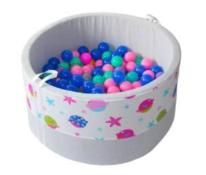Suchy basen z piłeczkami 200 szt – rybki - grube dno