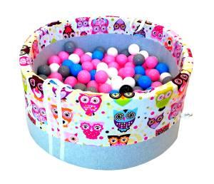 Suchy basen z piłeczkami 200 szt – różowe sowy - grube dno - roczek