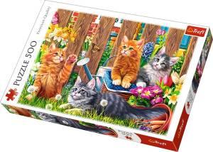 Puzzle 500 elementów - Kotki w ogrodzie