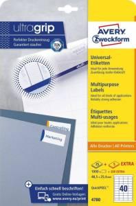 Etykiety uniwersalne ogólnego zastosowania, 48,5 x 25,4mm, białe,do drukarki, 1200 sztuk