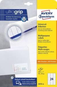 Etykiety uniwersalne ogólnego zastosowania, 70 x 37mm, białe, do drukarki, 240 sztuk