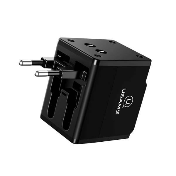 Ładowarka sieciowa 2xUSB T2 Adapter 4w1 US/AU/EU/UK czarny CC44TC01