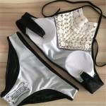 Brazylijskie bikini biały haft stylowe push up L