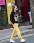 Damski komplet dresowy granatowe żółte ONE SIZE