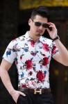 Elegancka koszula slim fit w kwiaty na wesele 7XL