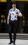 Elegancka casualowa koszula w kwiaty na randkę XL