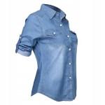 Jeansowa koszula dwa kolory denim oryginalna L 40