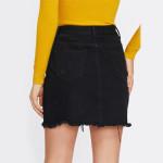 Jeansowa spódniczka mini perełki świetna czarna L
