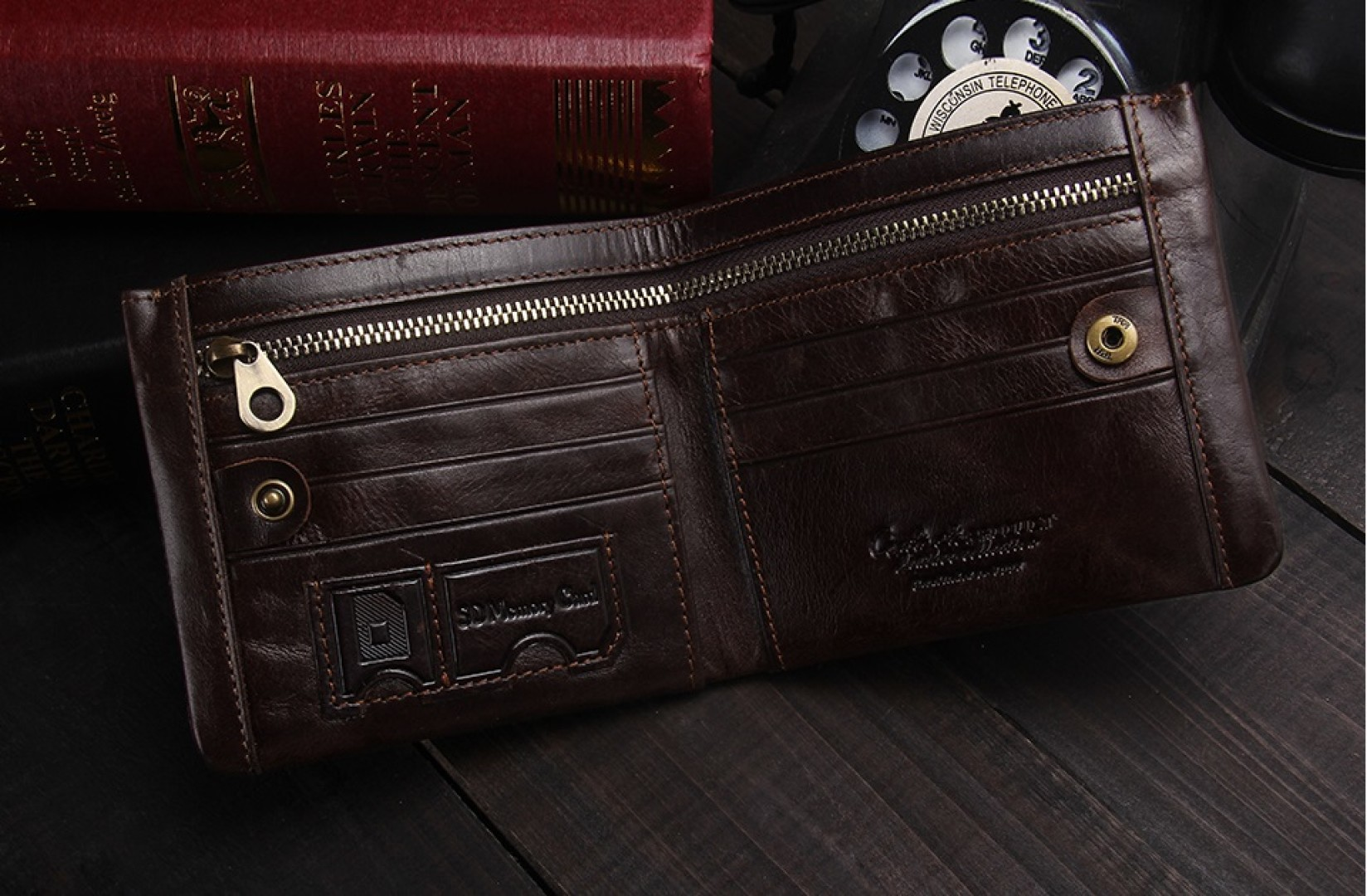 Elegancki męski portfel skórzany brąz mocny zamek