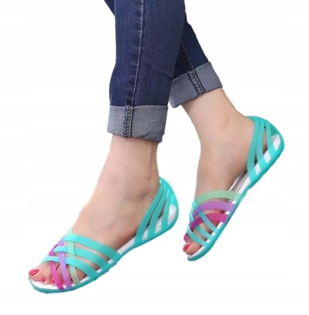 Gumowe sandały damskie różowe niebieskie żółte 35