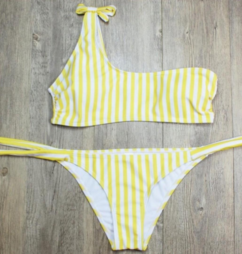 Super bikini na jedno ramię w paski marynarskie S