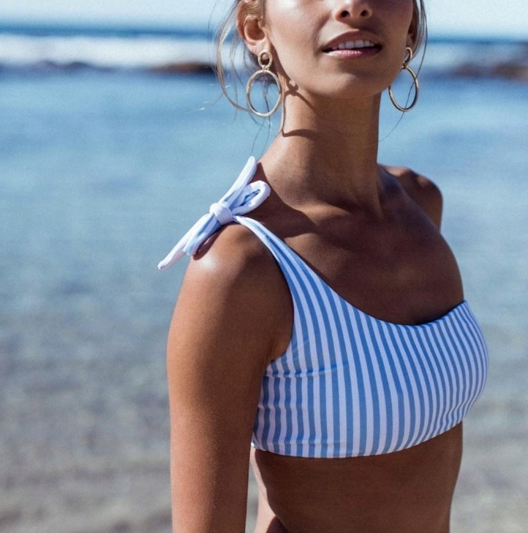 Super bikini na jedno ramię w paski marynarskie L
