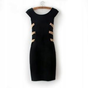 HIT Sukienka czarna dopasowana odkryte plecy S 36