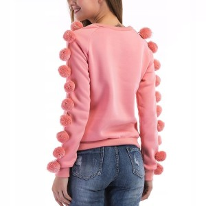 HIT Różowa damska bluza pullover pompony kulki M