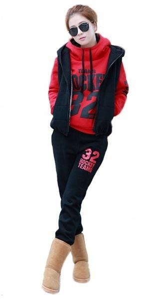 Czarno-czerwony komplet dresowy damski wygodny L